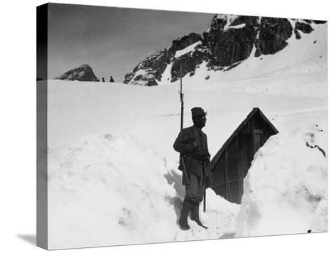 Sentry Guard at an Elevation of 3000 Meters on Adamello During World War I-Ugo Ojetti-Stretched Canvas Print