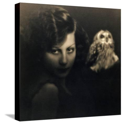 Portrait of a Woman with an Owl-Bruno Miniati-Stretched Canvas Print