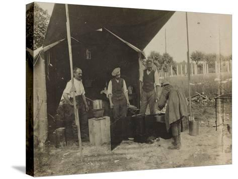 Italian Military Camp Kitchen During the First World War-Luigi Verdi-Stretched Canvas Print