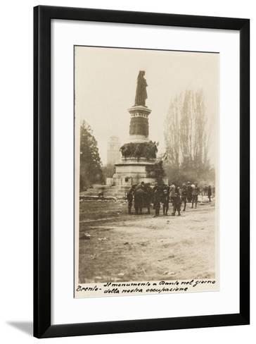 Piazza Dante in Trento in the Day of the Italian Reconquest During the First World War-Vincenzo Aragozzini-Framed Art Print