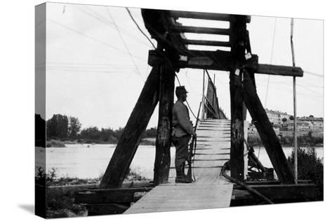 The Footbridge Connecting Gradisca with Sdraussina During World War I-Ugo Ojetti-Stretched Canvas Print