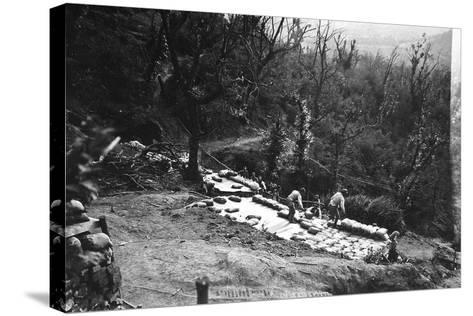 Italian Soldiers of World War I Construct Armored Shelters on the Outskirts of Podgora-Ugo Ojetti-Stretched Canvas Print
