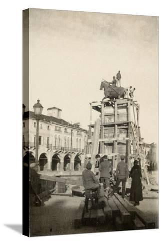 The Gattamelata Equestrian Monument under Restoration in Padova During WWI-Ugo Ojetti-Stretched Canvas Print