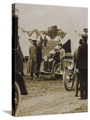 World War I: The British King George V (1865-1936) in a Military Camp--Stretched Canvas Print