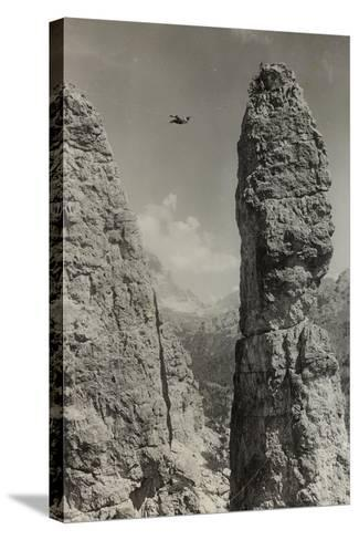 Extreme Climbing on a Mountain Peak in the Dolomites--Stretched Canvas Print