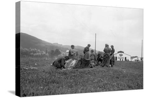 Internment Camp Katzenau, a Suburb of Linz, Austria: a Group of Prisoners--Stretched Canvas Print