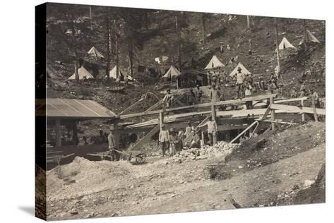 World War I: Vallone Tofana, Building a Barracks--Stretched Canvas Print
