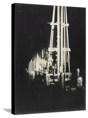 Night Work with Reflectors During the Construction of a Wooden Bridge for a Temporary Detour--Stretched Canvas Print