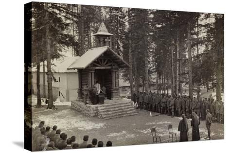 Pictures of War II: Italian Soldiers Participating in the Mass at the Chapel--Stretched Canvas Print