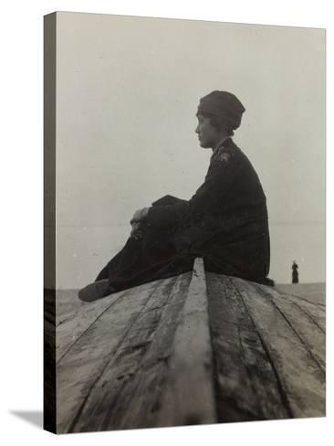Anita Self with the Uniform of the American Red Cross Photographed on the Beach in Noli--Stretched Canvas Print