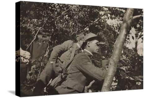 War Campaign 1917-1920: Asiago Plateau-Range Mezzavia June 1918, a Soldier with Binoculars--Stretched Canvas Print