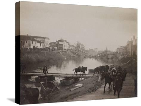Pictures of War II: Italian Soldiers and Horses Crossing a Temporary Bridge after a Bombing--Stretched Canvas Print
