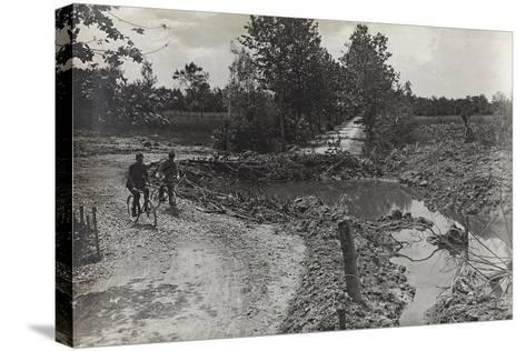 Hole Caused by a Bomb 305 on the Road Breda-Candelù--Stretched Canvas Print