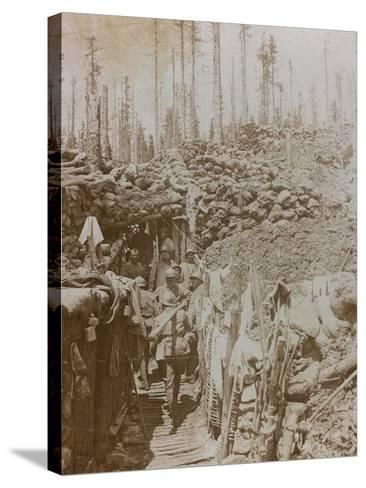 First World War: Soldiers in a Trench on Mount Zebio--Stretched Canvas Print