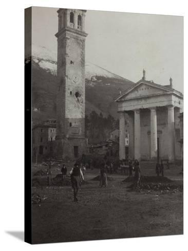 Square in the Old Town of Valdobbiadene with the Bell Tower Damaged by Bombing in World War I--Stretched Canvas Print