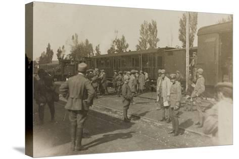 War Campaign 1917-1920: Soldiers at the Train Station of Cervignano Del Friuli--Stretched Canvas Print