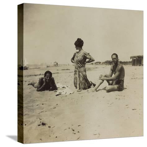 War Campaign 1917-1920: Group Photo on the Beach--Stretched Canvas Print