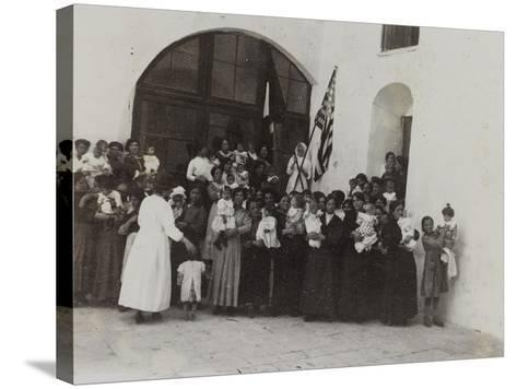 A Group of Women with Children Photographed in the Courtyard of a Convent--Stretched Canvas Print