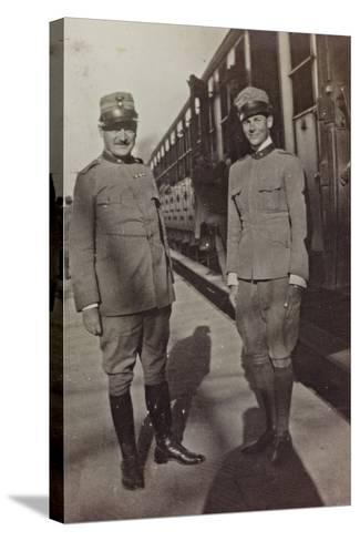Campagna Di Guerra 1915-1916-1917-1918: Jack Bosio in Uniform with an Officer in Udine--Stretched Canvas Print