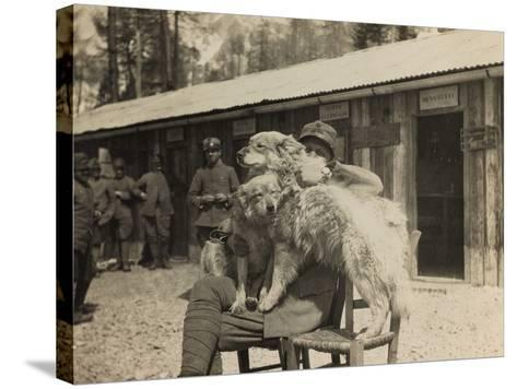 World War I: Italian Soldier with Dogs--Stretched Canvas Print
