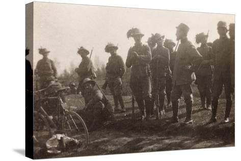 WWI: the Ninth Battalion of the Bersaglieri Cyclists--Stretched Canvas Print