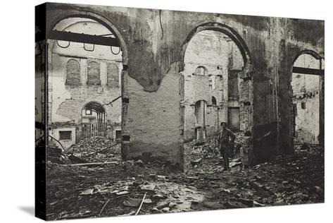 Udine, Interior of the Theatre Minerva Bombed--Stretched Canvas Print