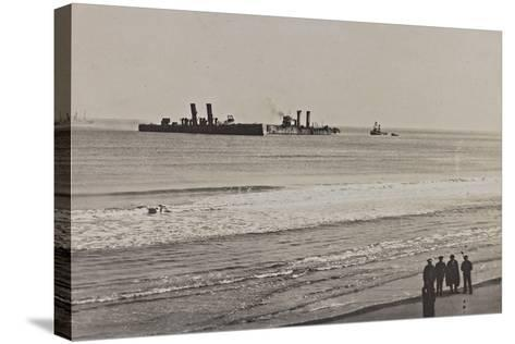 British Naval Vessels Off the Port of Ostend During the First World War--Stretched Canvas Print
