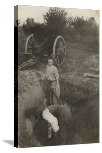 Young Boy Photographed While Digging a Trench in San Giorgio Di Nogaro During the First World War--Stretched Canvas Print