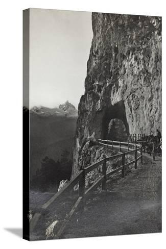Military Tank in a Mountain Road Between Cortina D 'Ampezzo Falzarego--Stretched Canvas Print