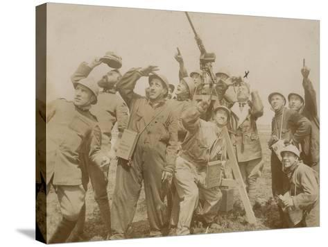Italian Army Soldiers with a Machine Gun Anti-Aircraft During the First World War, Castenedolo--Stretched Canvas Print