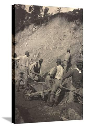 World War I: Italian Soldiers to Work for the Construction of a Shed--Stretched Canvas Print