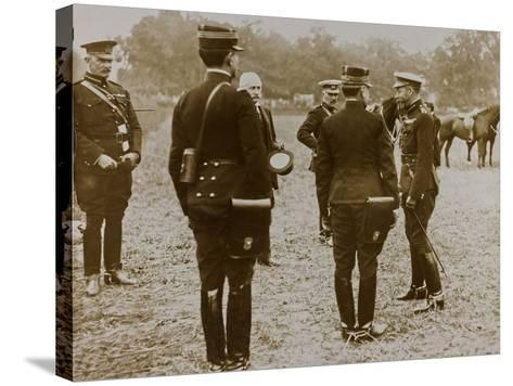 World War I: The British King George V (1865-1936) with a Group of French Officers--Stretched Canvas Print