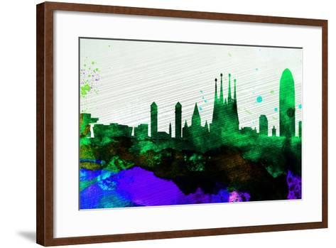 Barcelona City Skyline-NaxArt-Framed Art Print