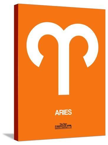 Aries Zodiac Sign White on Orange-NaxArt-Stretched Canvas Print