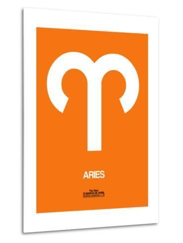 Aries Zodiac Sign White on Orange-NaxArt-Metal Print