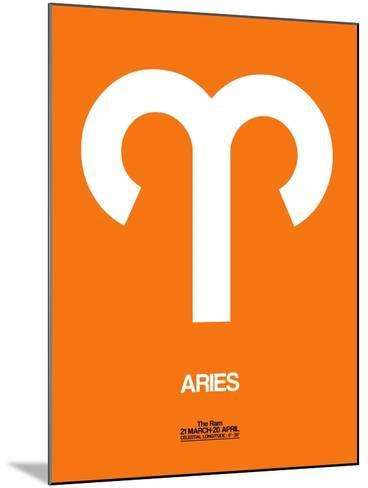 Aries Zodiac Sign White on Orange-NaxArt-Mounted Art Print