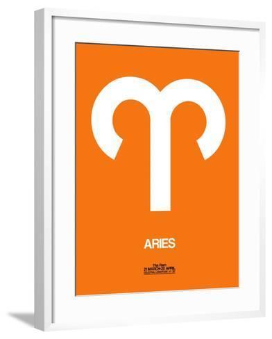 Aries Zodiac Sign White on Orange-NaxArt-Framed Art Print