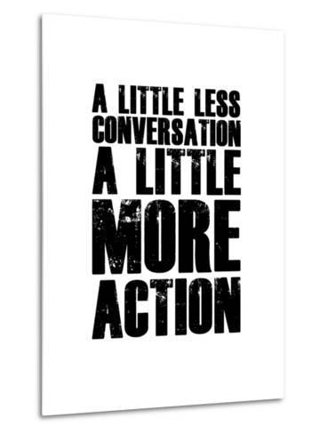A Little More Action White-NaxArt-Metal Print