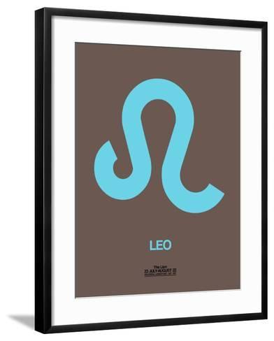 Leo Zodiac Sign Blue-NaxArt-Framed Art Print