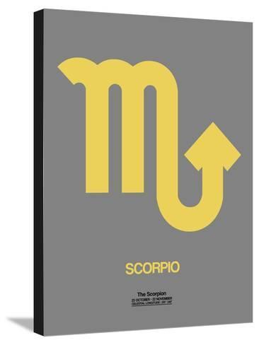 Scorpio Zodiac Sign Yellow on Grey-NaxArt-Stretched Canvas Print