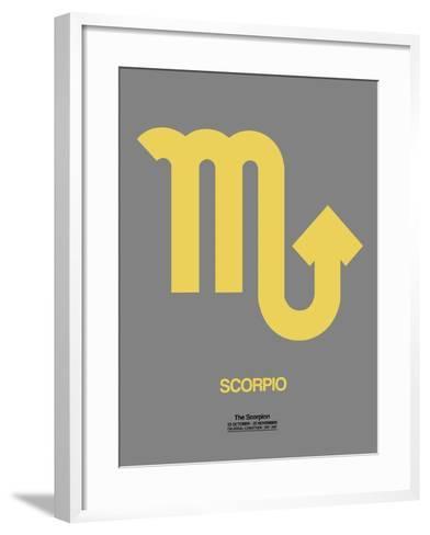 Scorpio Zodiac Sign Yellow on Grey-NaxArt-Framed Art Print