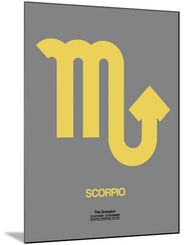 Scorpio Zodiac Sign Yellow on Grey-NaxArt-Mounted Art Print