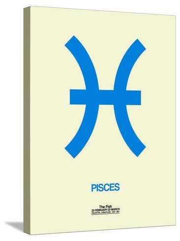 Pisces Zodiac Sign Blue-NaxArt-Stretched Canvas Print