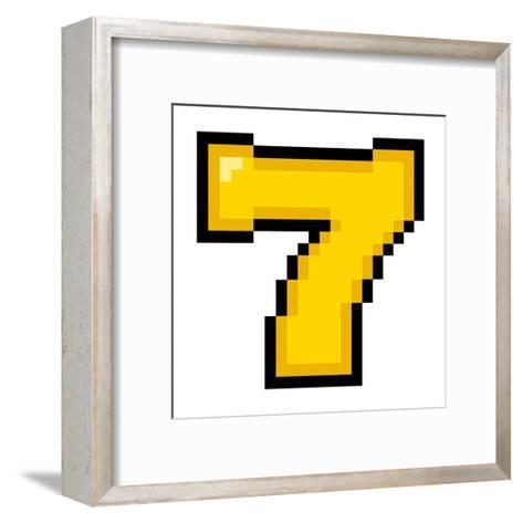 8-Bit Pixel Art Lucky Number Seven-wongstock-Framed Art Print
