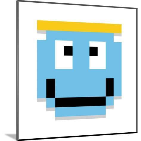 Vector Cute Cartoon Pixel Angel Face Isolated-Aratehortua-Mounted Art Print