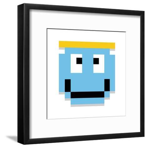 Vector Cute Cartoon Pixel Angel Face Isolated-Aratehortua-Framed Art Print