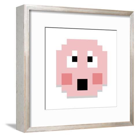 Vector Cute Cartoon Pixel Shy Face Isolated-Aratehortua-Framed Art Print