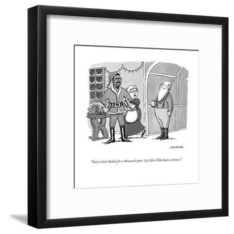 """You've been Santa for a thousand years. Let Idris Elba have a chance!"" - Cartoon-Joe Dator-Framed Art Print"