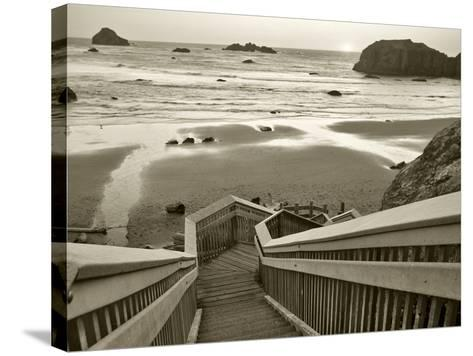 Pathway to Beach - Sepia-Dennis Frates-Stretched Canvas Print