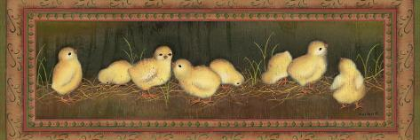 Eight Chicks-Kim Lewis-Stretched Canvas Print